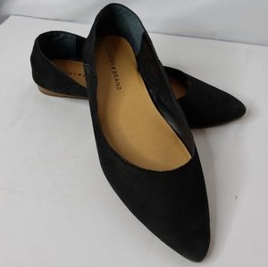 Lucky Brand Bylando Black Leather Flats Size 8.